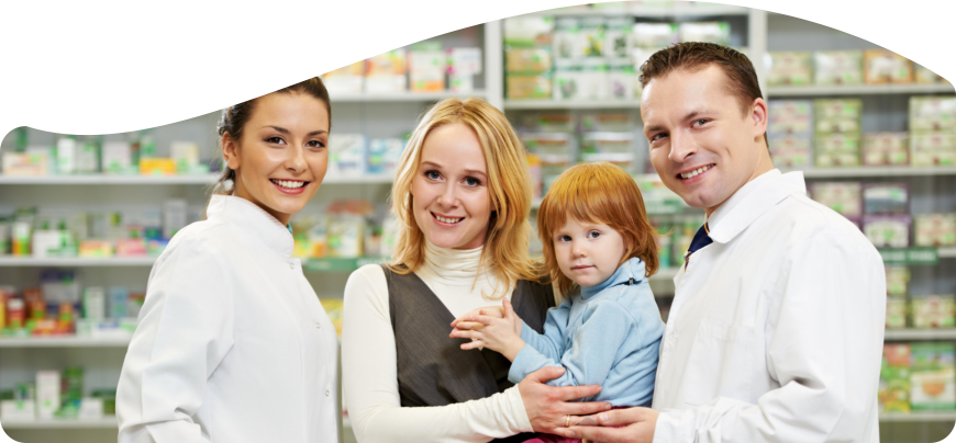 Pharmacist and customer with her baby